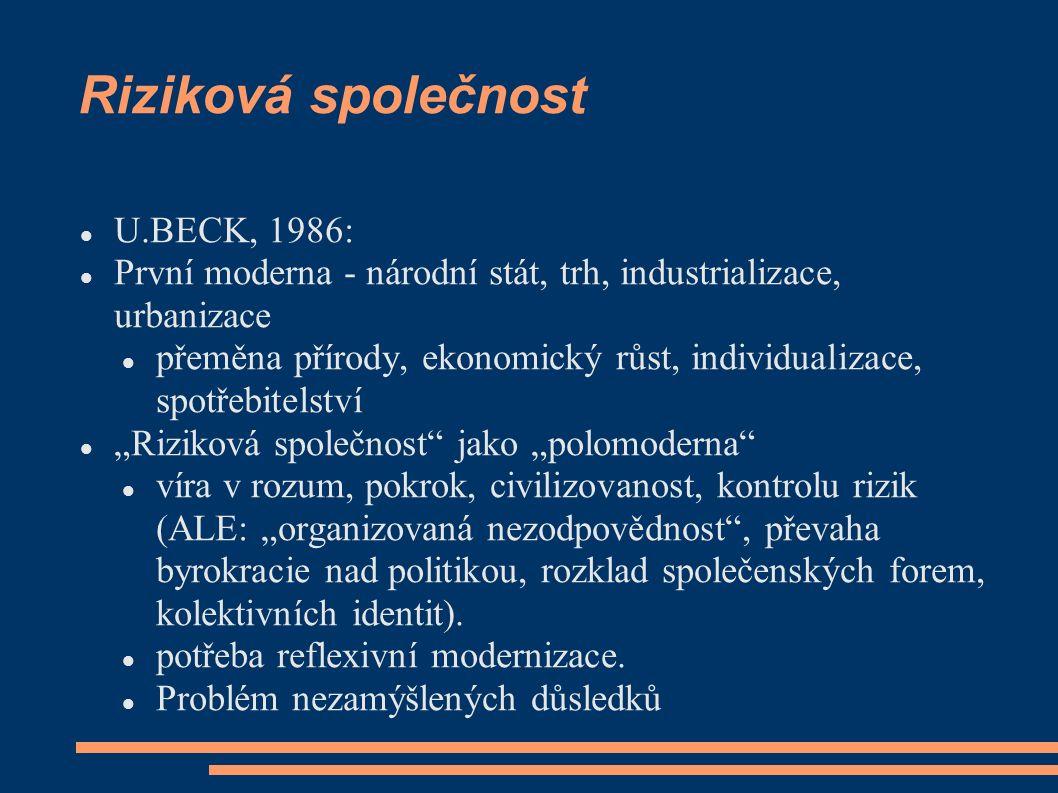 Riziková společnost U.BECK, 1986: První moderna - národní stát, trh, industrializace, urbanizace přeměna přírody, ekonomický růst, individualizace, sp
