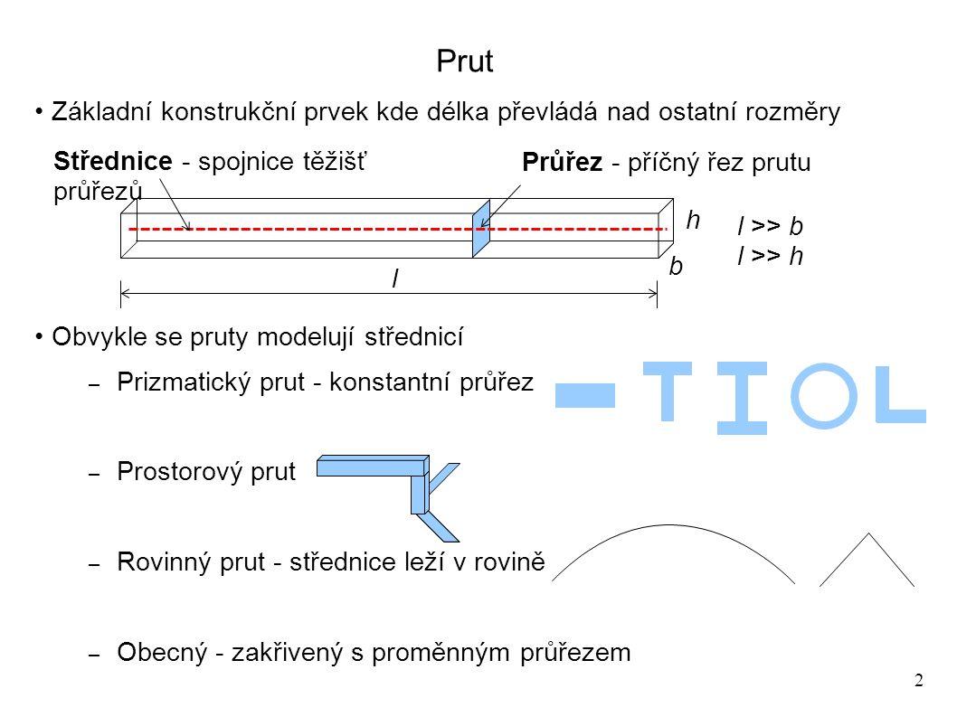 2 Prut Základní konstrukční prvek kde délka převládá nad ostatní rozměry Obvykle se pruty modelují střednicí – Prizmatický prut - konstantní průřez – Prostorový prut – Rovinný prut - střednice leží v rovině – Obecný - zakřivený s proměnným průřezem Průřez - příčný řez prutu l b h l >> b l >> h Střednice - spojnice těžišť průřezů