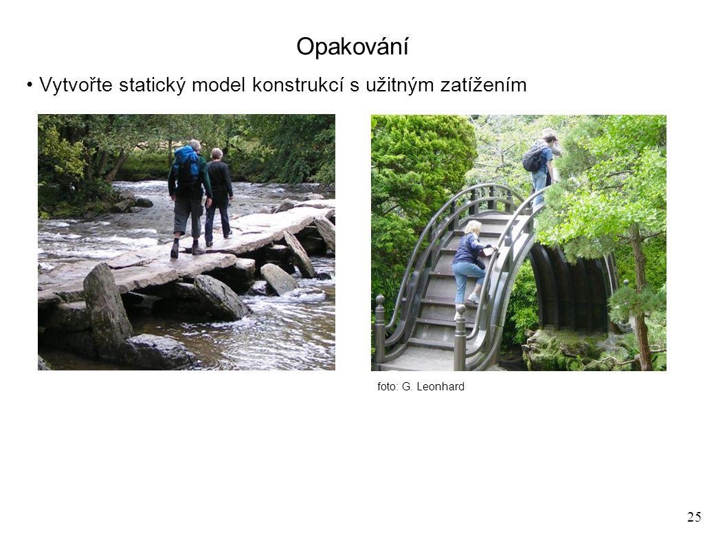 25 Opakování Vytvořte statický model konstrukcí s užitným zatížením foto: G. Leonhard