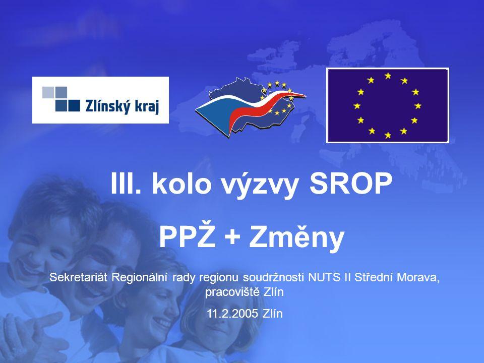 1 Sekretariát Regionální rady regionu soudržnosti NUTS II Střední Morava, pracoviště Zlín 11.2.2005 Zlín III. kolo výzvy SROP PPŽ + Změny