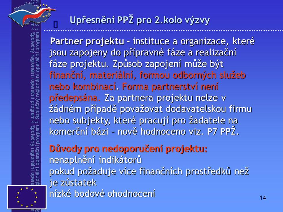 14 Upřesnění PPŽ pro 2.kolo výzvy  Partner projektu – instituce a organizace, které jsou zapojeny do přípravné fáze a realizační fáze projektu. Způso