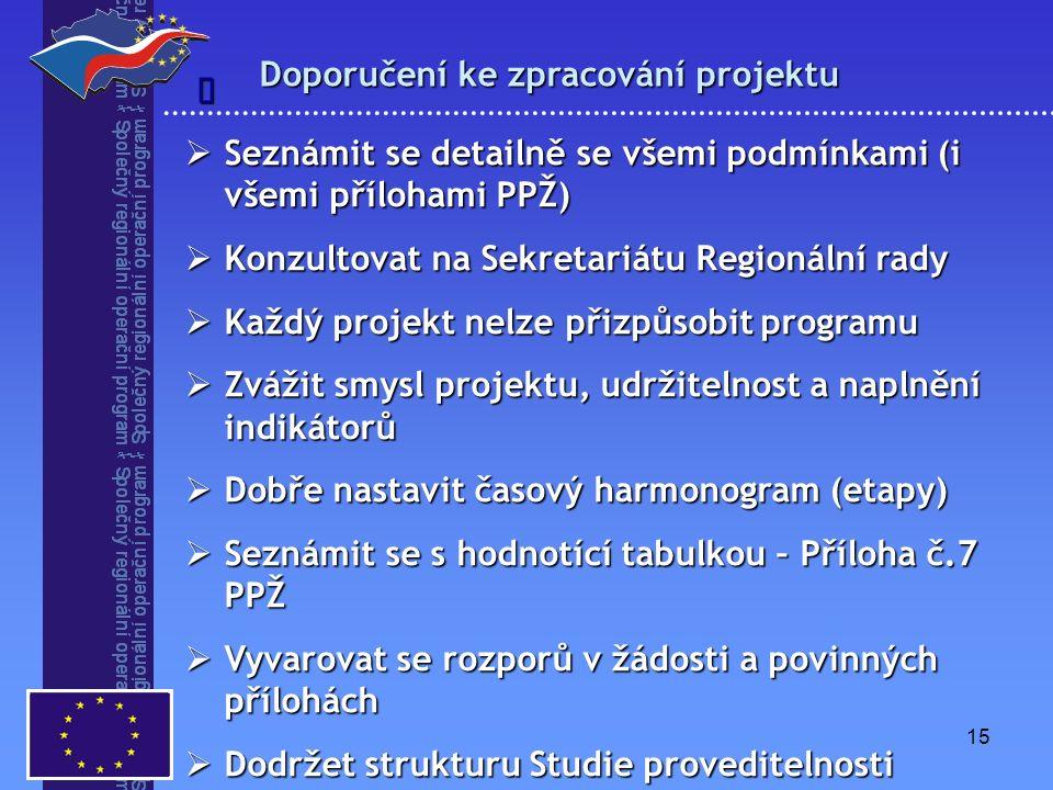 15 Doporučení ke zpracování projektu   Seznámit se detailně se všemi podmínkami (i všemi přílohami PPŽ)  Konzultovat na Sekretariátu Regionální rady  Každý projekt nelze přizpůsobit programu  Zvážit smysl projektu, udržitelnost a naplnění indikátorů  Dobře nastavit časový harmonogram (etapy)  Seznámit se s hodnotící tabulkou – Příloha č.7 PPŽ  Vyvarovat se rozporů v žádosti a povinných přílohách  Dodržet strukturu Studie proveditelnosti