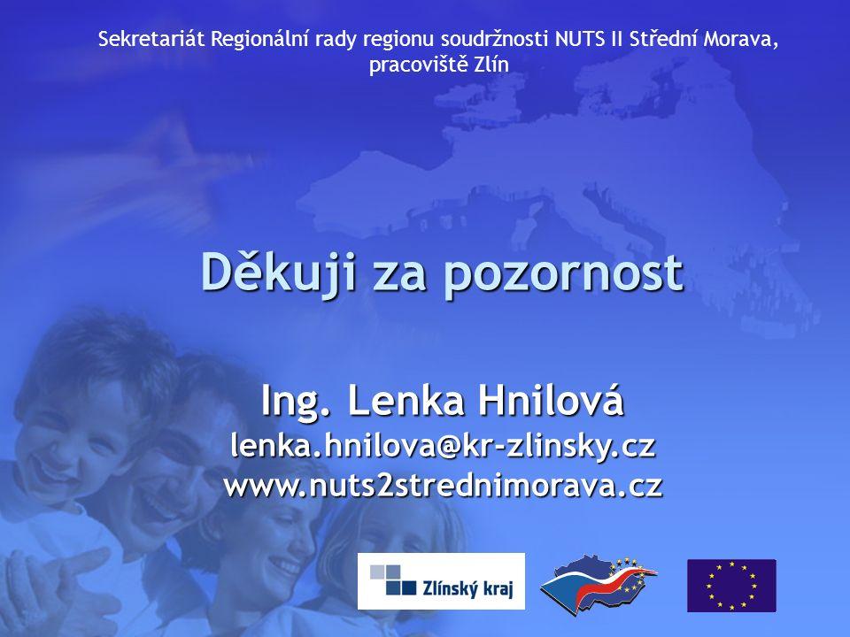 16 Děkuji za pozornost Ing. Lenka Hnilová lenka.hnilova@kr-zlinsky.czwww.nuts2strednimorava.cz Sekretariát Regionální rady regionu soudržnosti NUTS II