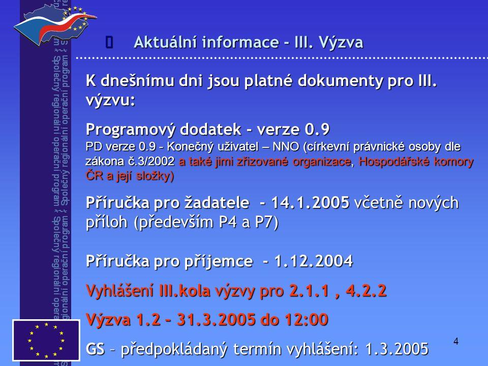 4 Aktuální informace - III. Výzva  K dnešnímu dni jsou platné dokumenty pro III. výzvu: Programový dodatek - verze 0.9 PD verze 0.9 - Konečný uživate