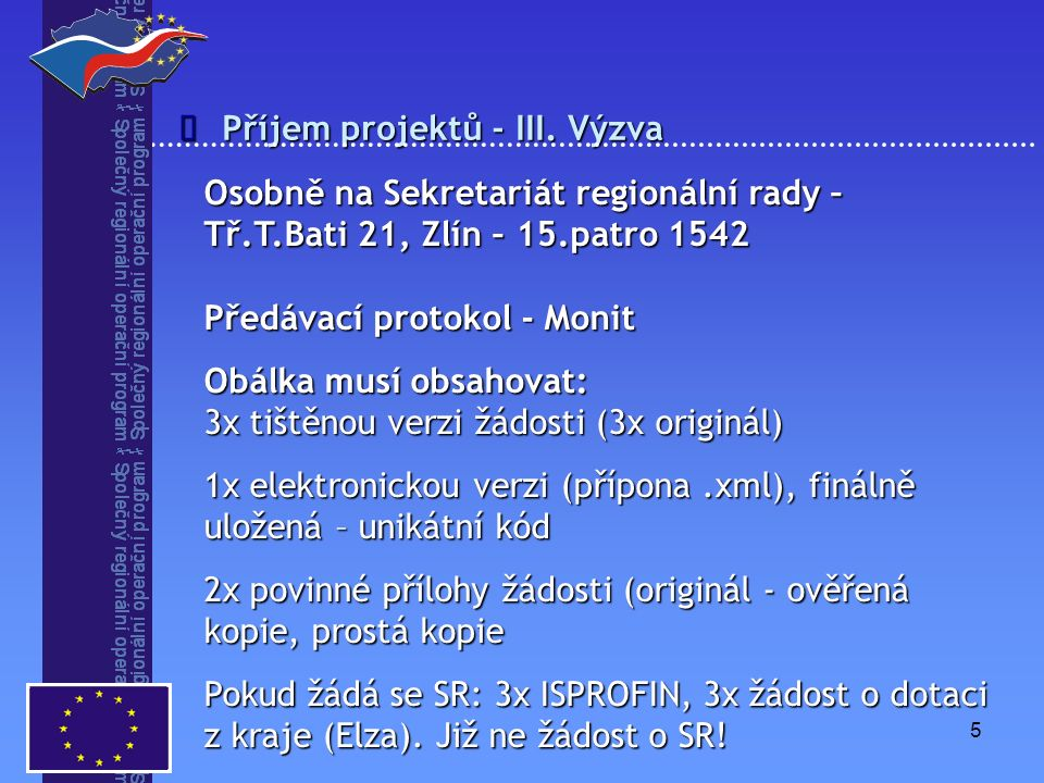 5 Příjem projektů - III.