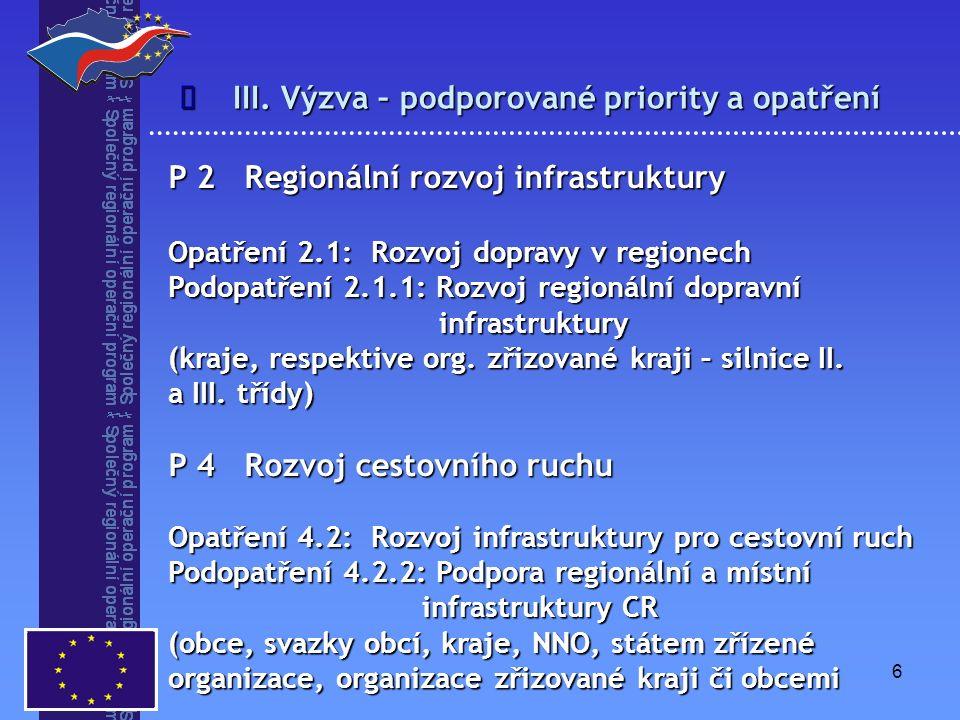 6 III. Výzva – podporované priority a opatření  P 2 Regionální rozvoj infrastruktury Opatření 2.1: Rozvoj dopravy v regionech Podopatření 2.1.1: Rozv