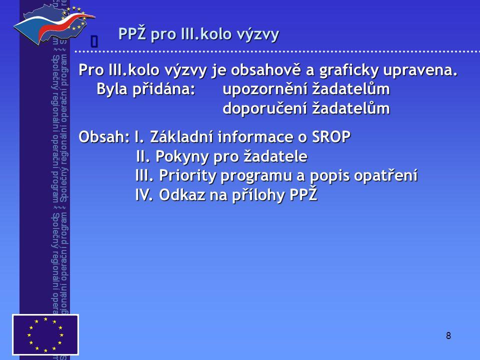 8 PPŽ pro III.kolo výzvy  Pro III.kolo výzvy je obsahově a graficky upravena. Byla přidána: upozornění žadatelům doporučení žadatelům Obsah: I. Zákla