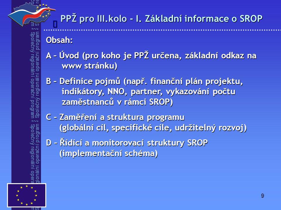 9 PPŽ pro III.kolo - I. Základní informace o SROP  Obsah: A – Úvod (pro koho je PPŽ určena, základní odkaz na www stránku) B – Definice pojmů (např.