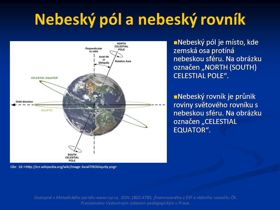Nebeský pól a nebeský rovník Nebeský pól je místo, kde zemská osa protíná nebeskou sféru.