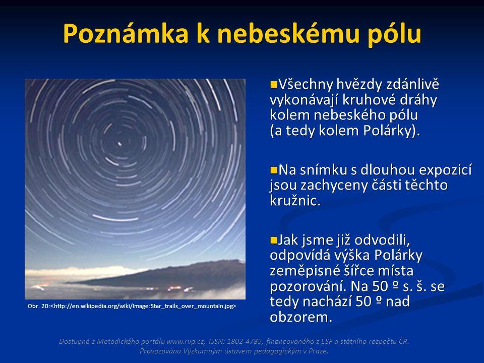 Poznámka k nebeskému pólu Všechny hvězdy zdánlivě vykonávají kruhové dráhy kolem nebeského pólu (a tedy kolem Polárky).
