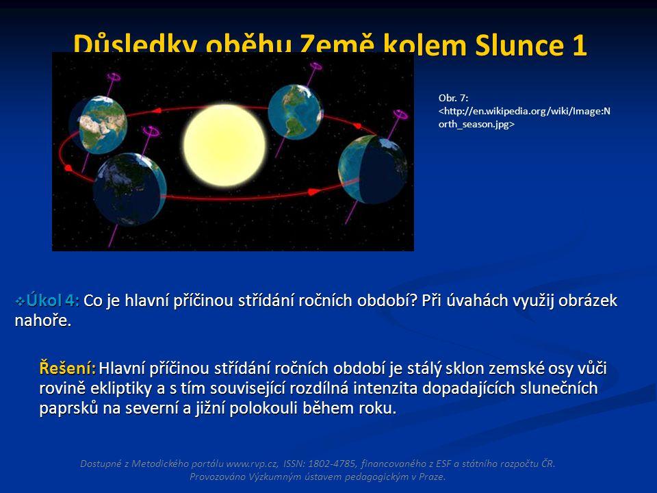 Důsledky oběhu Země kolem Slunce 1  Úkol 4: Co je hlavní příčinou střídání ročních období.