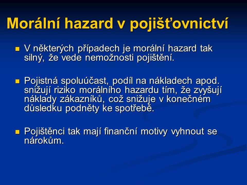 Morální hazard v pojišťovnictví V některých případech je morální hazard tak silný, že vede nemožnosti pojištění.
