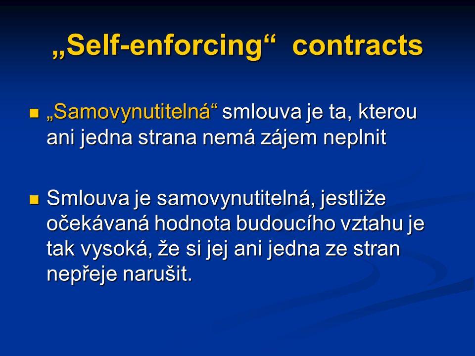 """""""Self-enforcing contracts """"Samovynutitelná smlouva je ta, kterou ani jedna strana nemá zájem neplnit """"Samovynutitelná smlouva je ta, kterou ani jedna strana nemá zájem neplnit Smlouva je samovynutitelná, jestliže očekávaná hodnota budoucího vztahu je tak vysoká, že si jej ani jedna ze stran nepřeje narušit."""