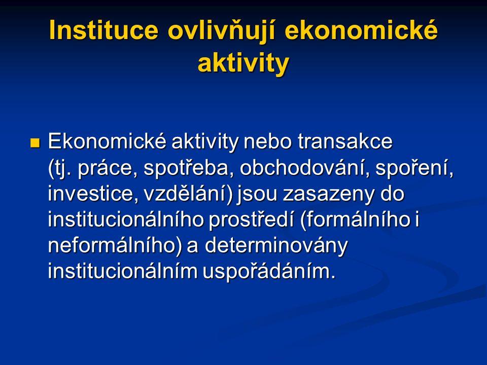 Instituce ovlivňují ekonomické aktivity Ekonomické aktivity nebo transakce (tj.