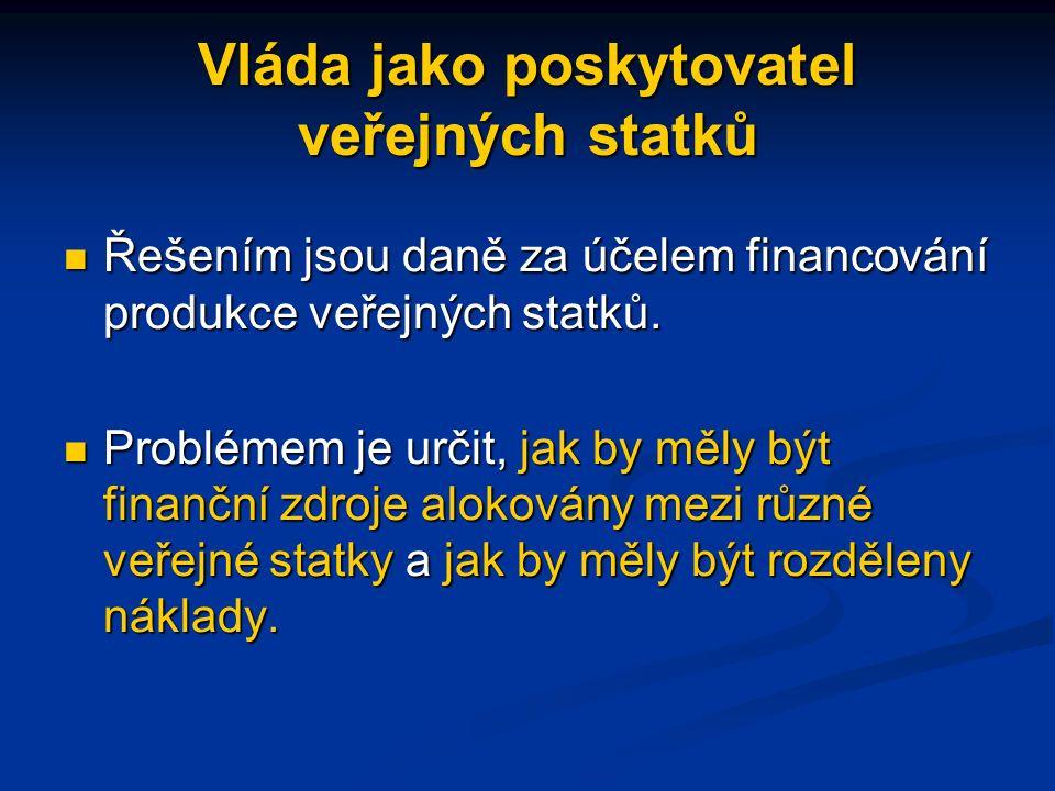 Vláda jako poskytovatel veřejných statků Řešením jsou daně za účelem financování produkce veřejných statků.