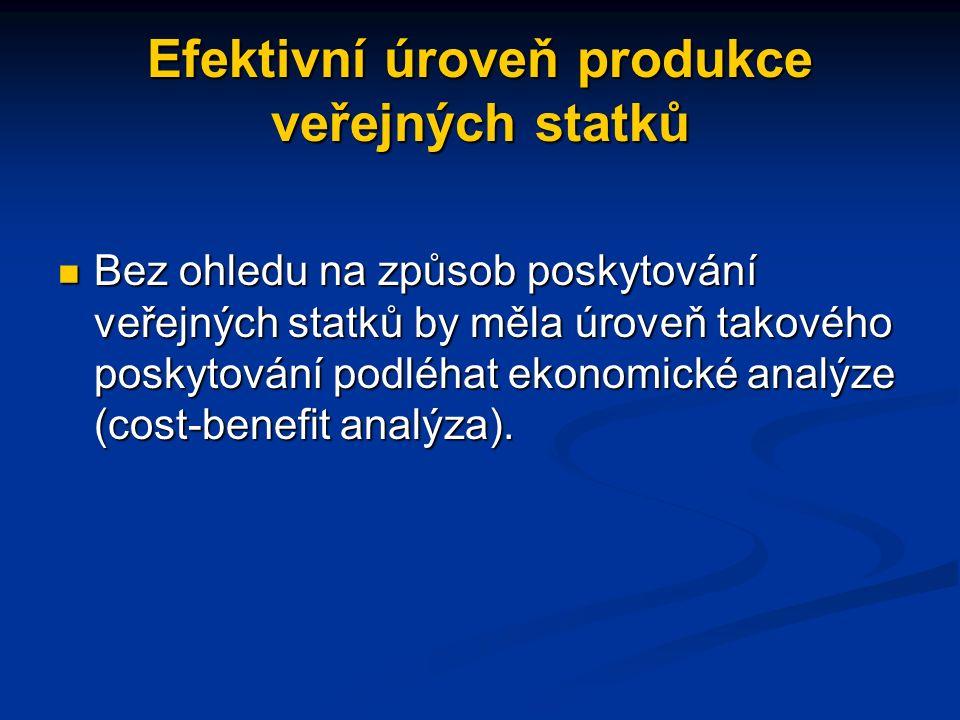 Efektivní úroveň produkce veřejných statků Bez ohledu na způsob poskytování veřejných statků by měla úroveň takového poskytování podléhat ekonomické analýze (cost-benefit analýza).