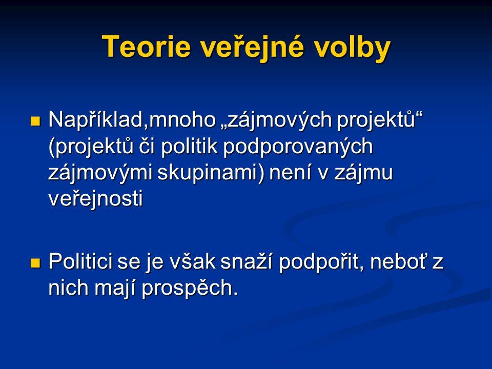 """Teorie veřejné volby Například,mnoho """"zájmových projektů (projektů či politik podporovaných zájmovými skupinami) není v zájmu veřejnosti Například,mnoho """"zájmových projektů (projektů či politik podporovaných zájmovými skupinami) není v zájmu veřejnosti Politici se je však snaží podpořit, neboť z nich mají prospěch."""