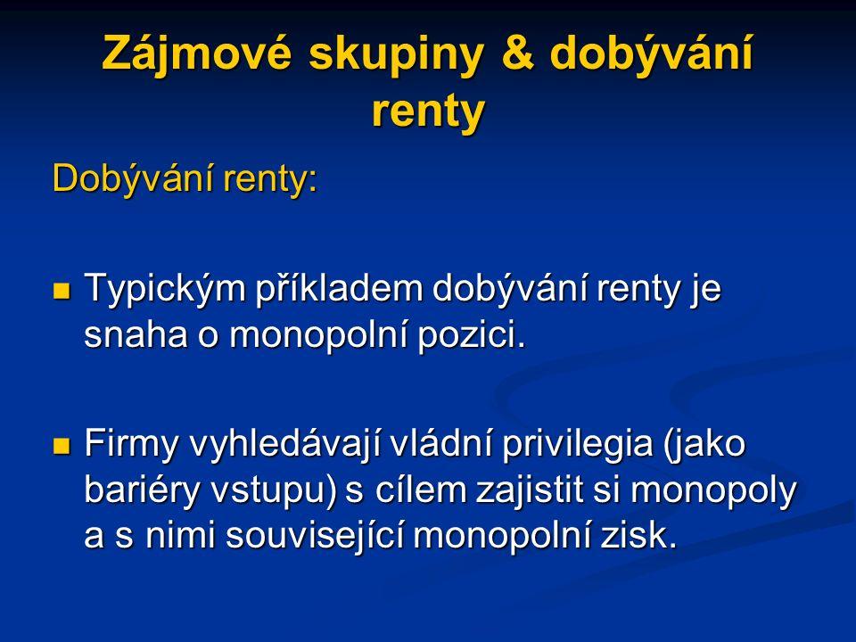 Zájmové skupiny & dobývání renty Dobývání renty: Typickým příkladem dobývání renty je snaha o monopolní pozici.