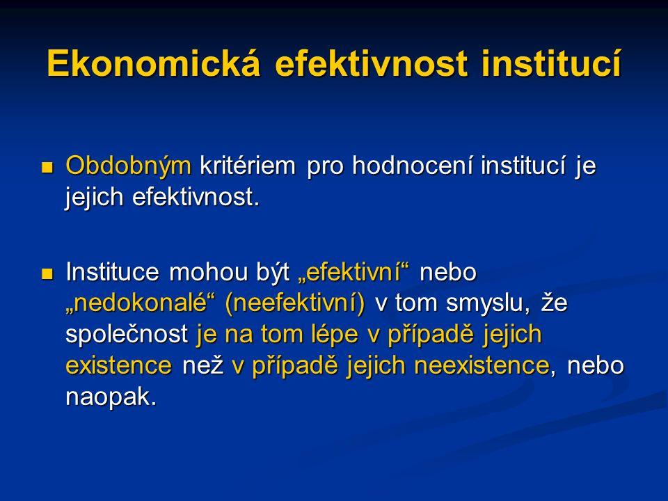 Ekonomická efektivnost institucí Obdobným kritériem pro hodnocení institucí je jejich efektivnost.