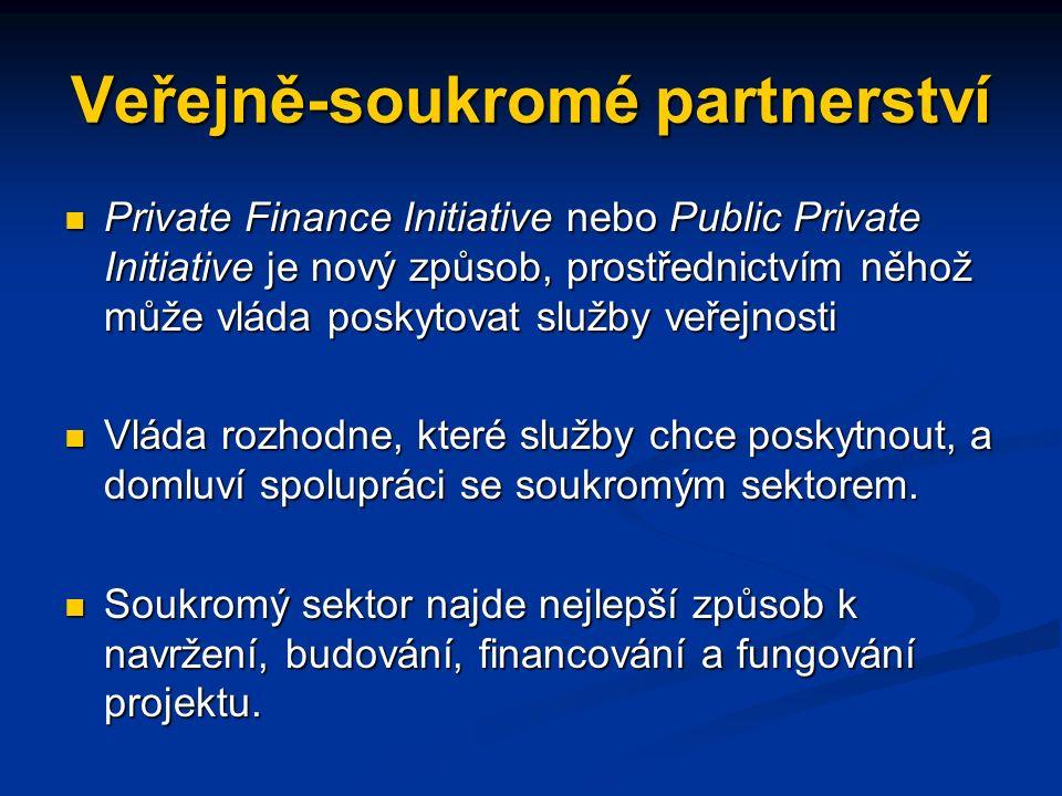 Veřejně-soukromé partnerství Private Finance Initiative nebo Public Private Initiative je nový způsob, prostřednictvím něhož může vláda poskytovat služby veřejnosti Private Finance Initiative nebo Public Private Initiative je nový způsob, prostřednictvím něhož může vláda poskytovat služby veřejnosti Vláda rozhodne, které služby chce poskytnout, a domluví spolupráci se soukromým sektorem.