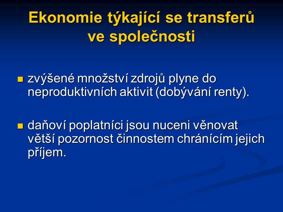 Ekonomie týkající se transferů ve společnosti zvýšené množství zdrojů plyne do neproduktivních aktivit (dobývání renty).
