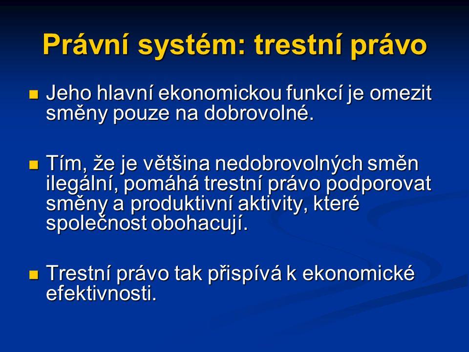 Právní systém: trestní právo Jeho hlavní ekonomickou funkcí je omezit směny pouze na dobrovolné.