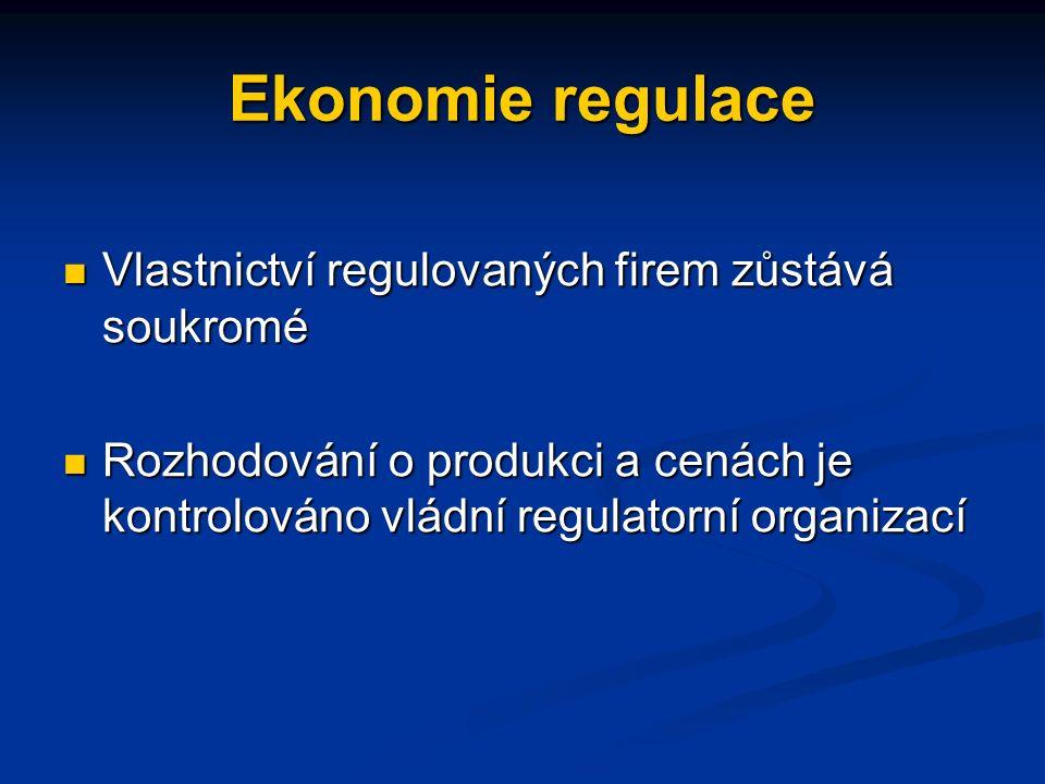 Ekonomie regulace Vlastnictví regulovaných firem zůstává soukromé Vlastnictví regulovaných firem zůstává soukromé Rozhodování o produkci a cenách je kontrolováno vládní regulatorní organizací Rozhodování o produkci a cenách je kontrolováno vládní regulatorní organizací