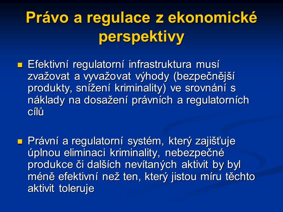 Právo a regulace z ekonomické perspektivy Efektivní regulatorní infrastruktura musí zvažovat a vyvažovat výhody (bezpečnější produkty, snížení kriminality) ve srovnání s náklady na dosažení právních a regulatorních cílů Efektivní regulatorní infrastruktura musí zvažovat a vyvažovat výhody (bezpečnější produkty, snížení kriminality) ve srovnání s náklady na dosažení právních a regulatorních cílů Právní a regulatorní systém, který zajišťuje úplnou eliminaci kriminality, nebezpečné produkce či dalších nevítaných aktivit by byl méně efektivní než ten, který jistou míru těchto aktivit toleruje Právní a regulatorní systém, který zajišťuje úplnou eliminaci kriminality, nebezpečné produkce či dalších nevítaných aktivit by byl méně efektivní než ten, který jistou míru těchto aktivit toleruje