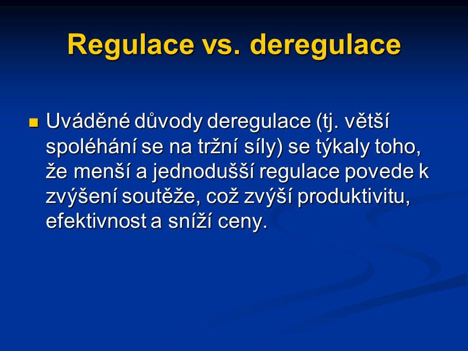 Regulace vs.deregulace Uváděné důvody deregulace (tj.
