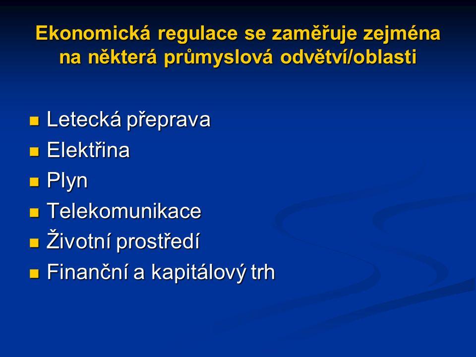 Ekonomická regulace se zaměřuje zejména na některá průmyslová odvětví/oblasti Letecká přeprava Letecká přeprava Elektřina Elektřina Plyn Plyn Telekomunikace Telekomunikace Životní prostředí Životní prostředí Finanční a kapitálový trh Finanční a kapitálový trh