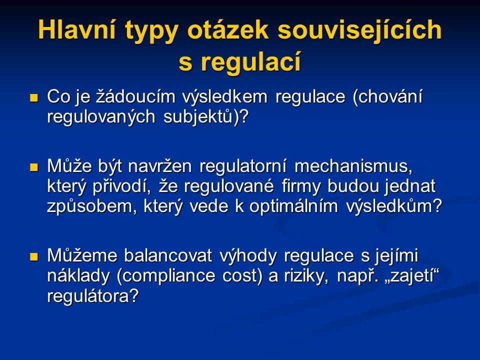 Hlavní typy otázek souvisejících s regulací Co je žádoucím výsledkem regulace (chování regulovaných subjektů).