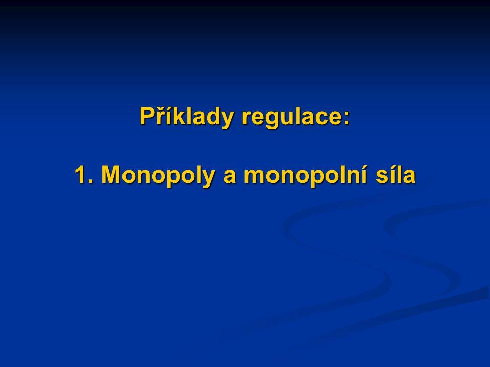 Příklady regulace: 1. Monopoly a monopolní síla
