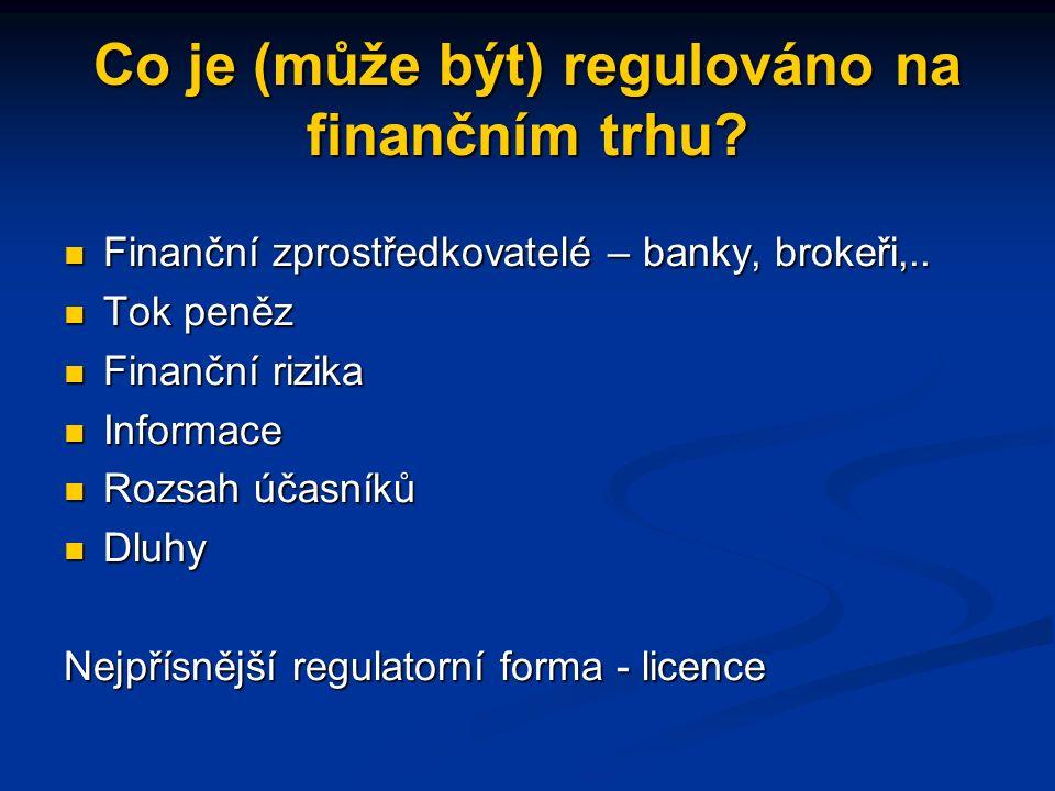 Co je (může být) regulováno na finančním trhu.Finanční zprostředkovatelé – banky, brokeři,..