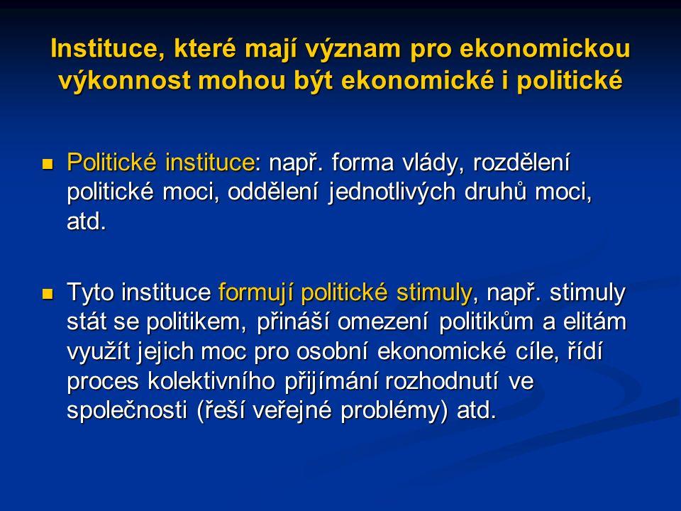 Instituce, které mají význam pro ekonomickou výkonnost mohou být ekonomické i politické Politické instituce: např.