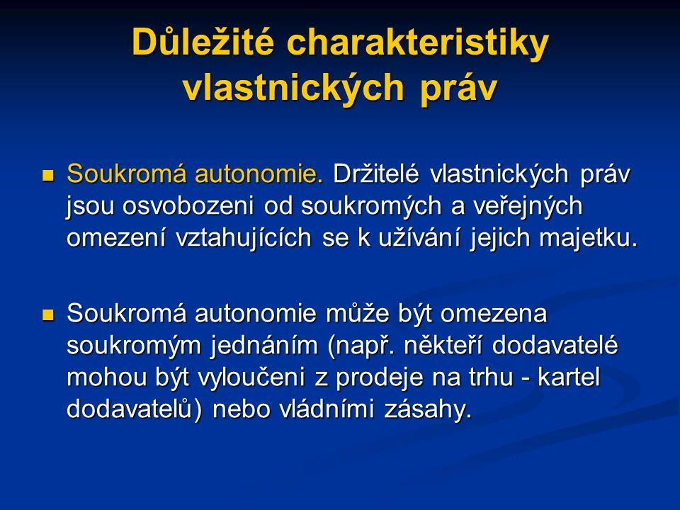 Důležité charakteristiky vlastnických práv Soukromá autonomie.