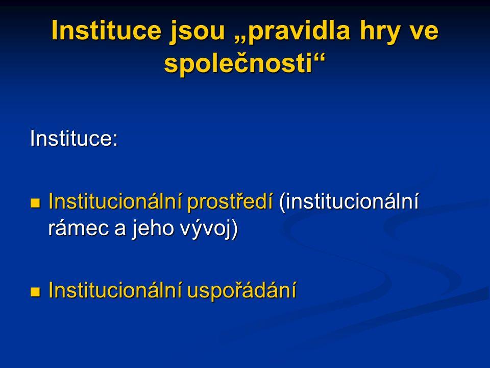 """Instituce jsou """"pravidla hry ve společnosti Instituce: Institucionální prostředí (institucionální rámec a jeho vývoj) Institucionální prostředí (institucionální rámec a jeho vývoj) Institucionální uspořádání Institucionální uspořádání"""