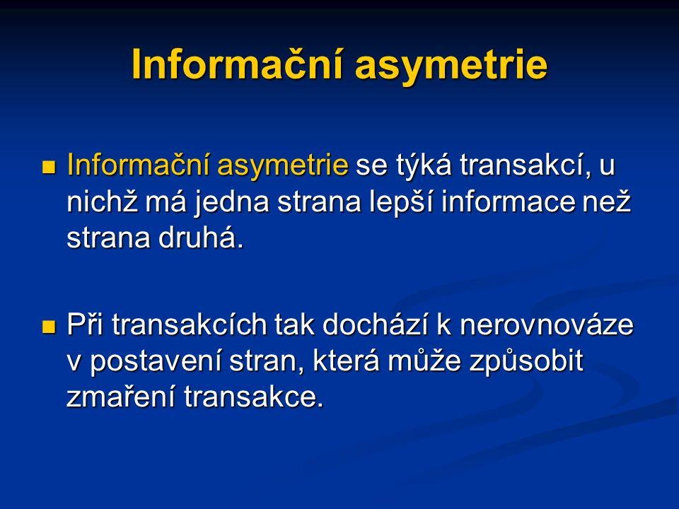Informační asymetrie Informační asymetrie se týká transakcí, u nichž má jedna strana lepší informace než strana druhá.