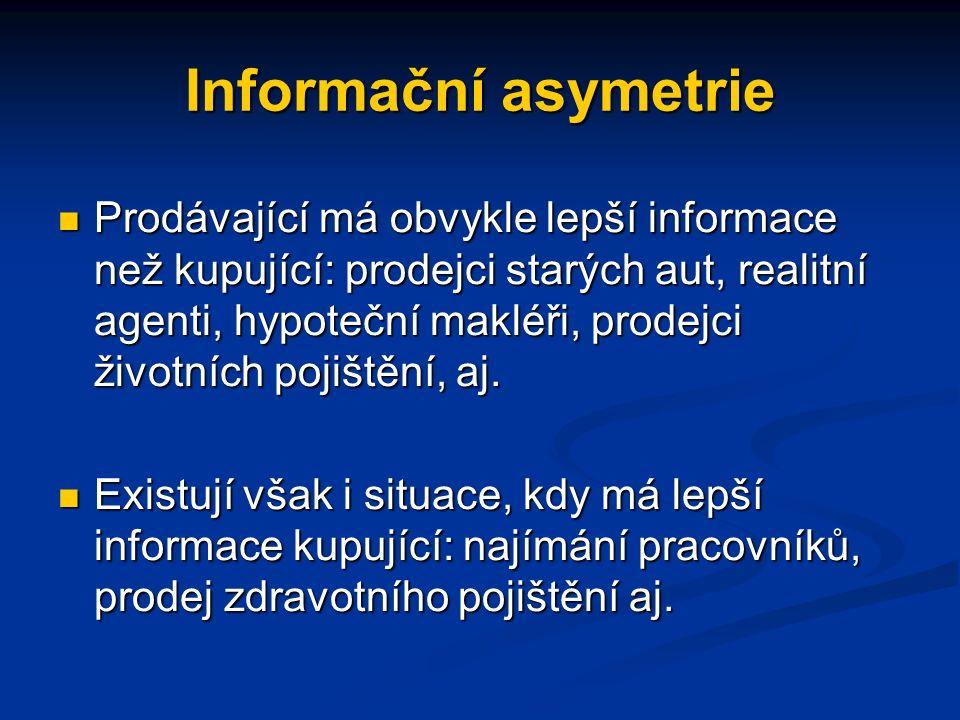 Informační asymetrie Prodávající má obvykle lepší informace než kupující: prodejci starých aut, realitní agenti, hypoteční makléři, prodejci životních pojištění, aj.