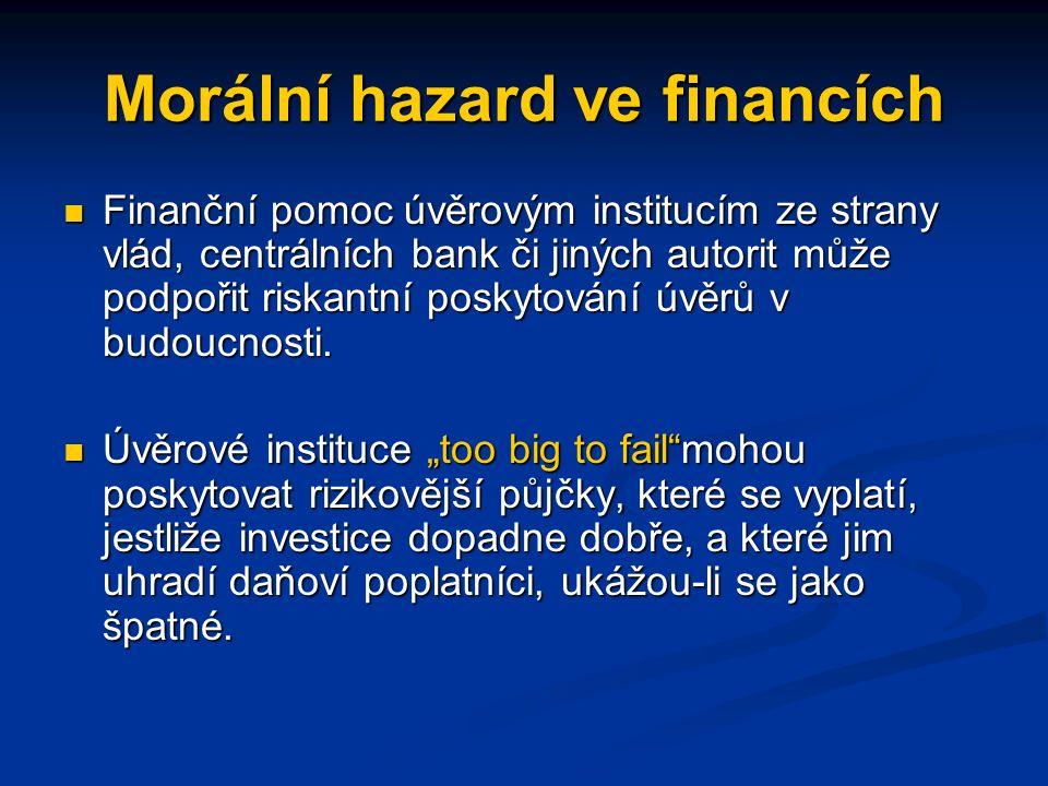 Morální hazard ve financích Finanční pomoc úvěrovým institucím ze strany vlád, centrálních bank či jiných autorit může podpořit riskantní poskytování úvěrů v budoucnosti.