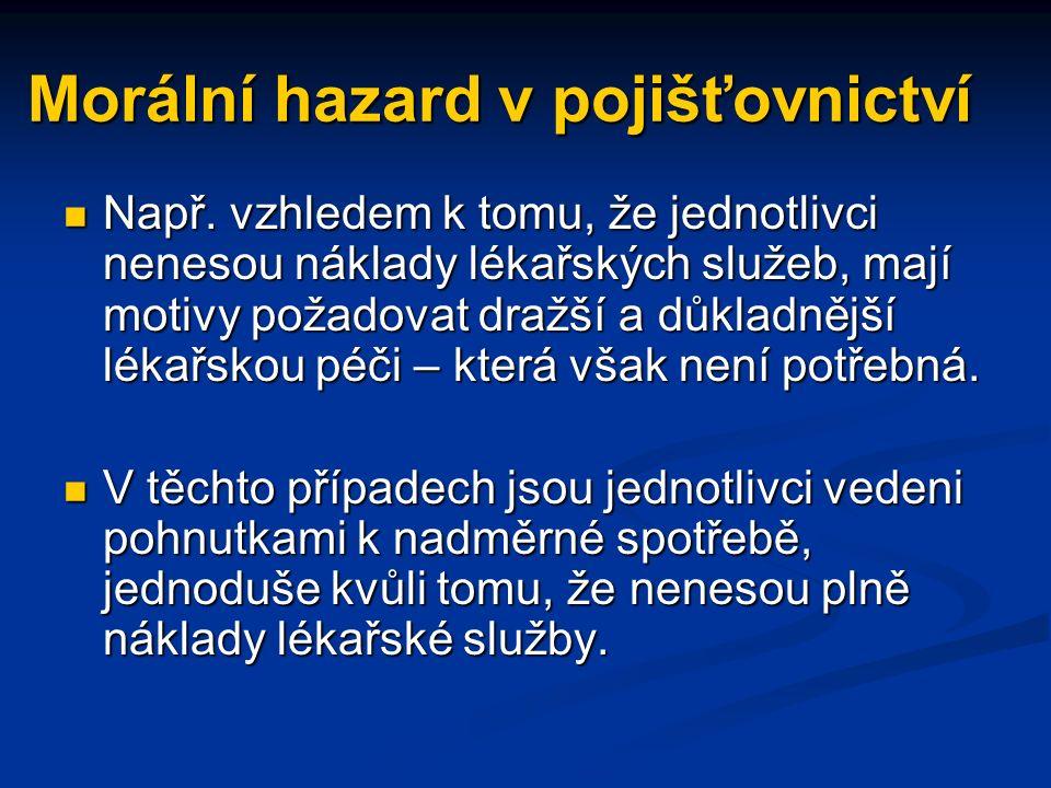 Morální hazard v pojišťovnictví Např.
