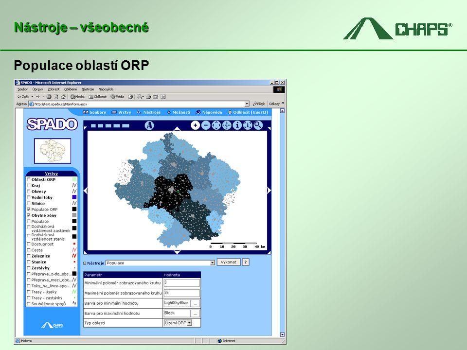 Populace oblastí ORP Nástroje – všeobecné