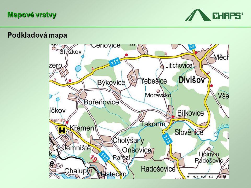 Podkladová mapa Mapové vrstvy