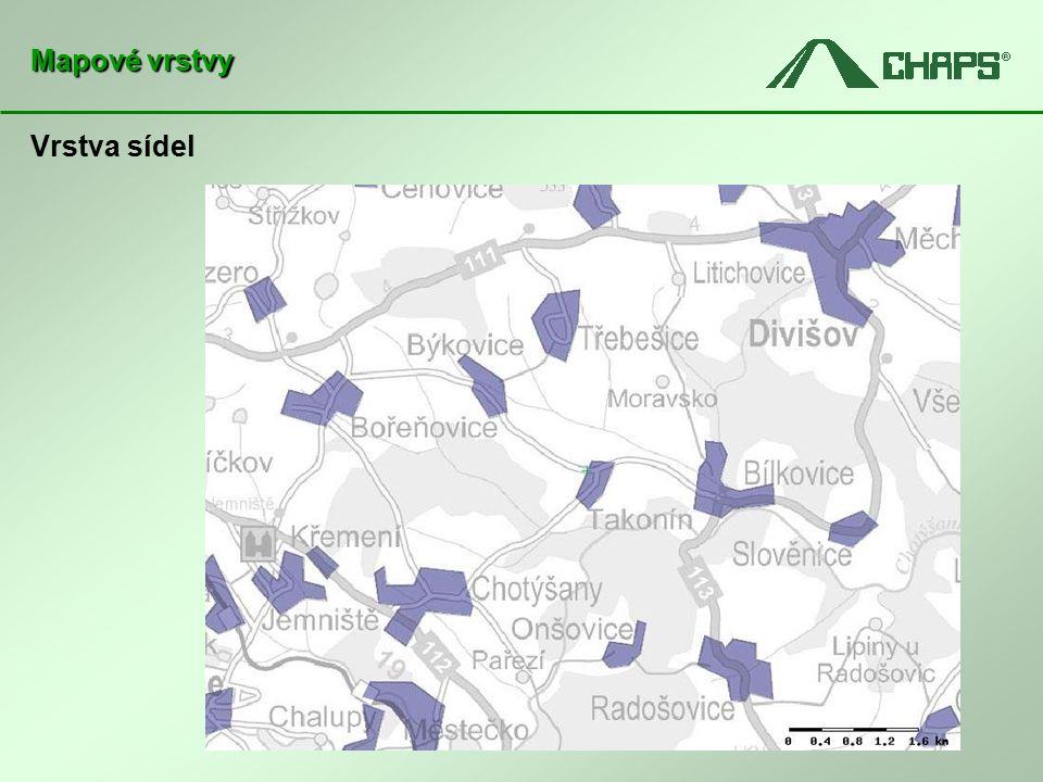 Vrstva sídel Mapové vrstvy