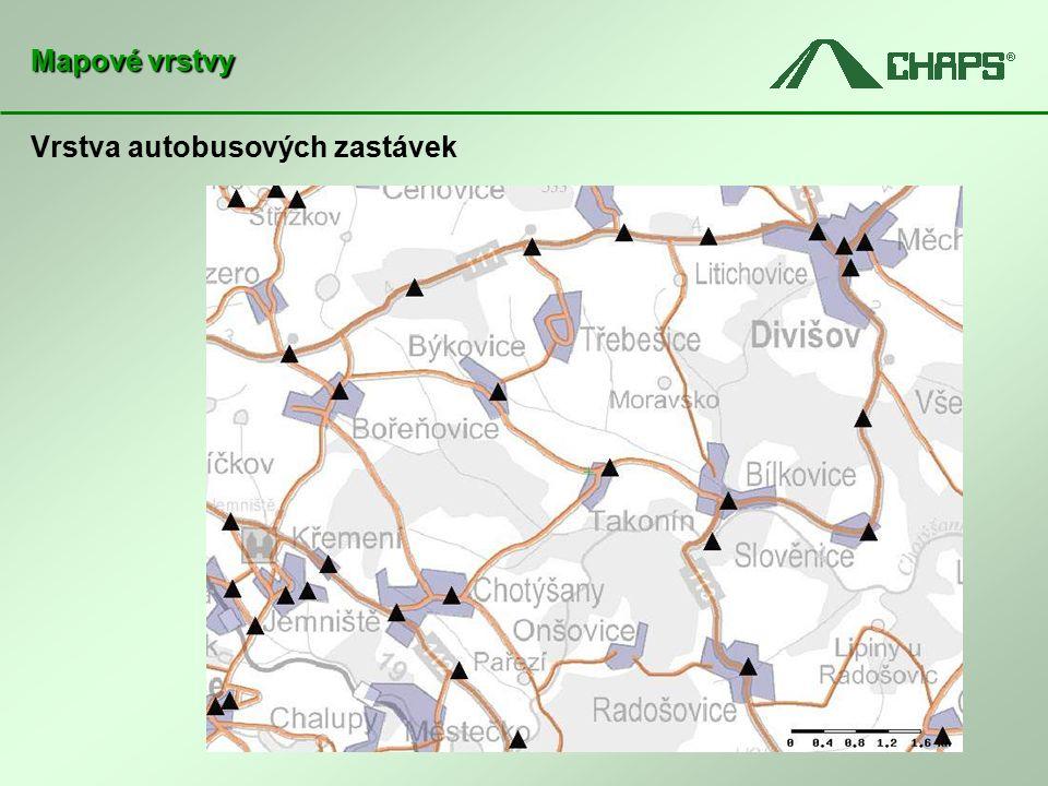 Vrstva autobusových zastávek Mapové vrstvy