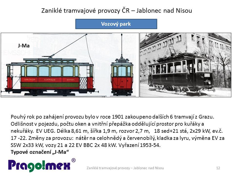 Zaniklé tramvajové provozy ČR – Jablonec nad Nisou Zaniklé tramvajové provozy – Jablonec nad Nisou12 Vozový park Pouhý rok po zahájení provozu bylo v