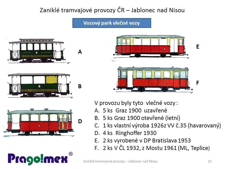 Zaniklé tramvajové provozy ČR – Jablonec nad Nisou Zaniklé tramvajové provozy – Jablonec nad Nisou15 Vozový park vlečné vozy V provozu byly tyto vlečn