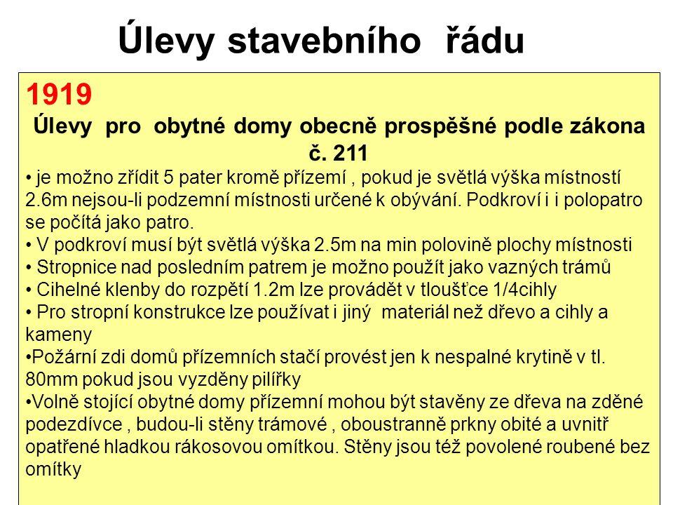 Úlevy stavebního řádu 1919 Úlevy pro obytné domy obecně prospěšné podle zákona č.