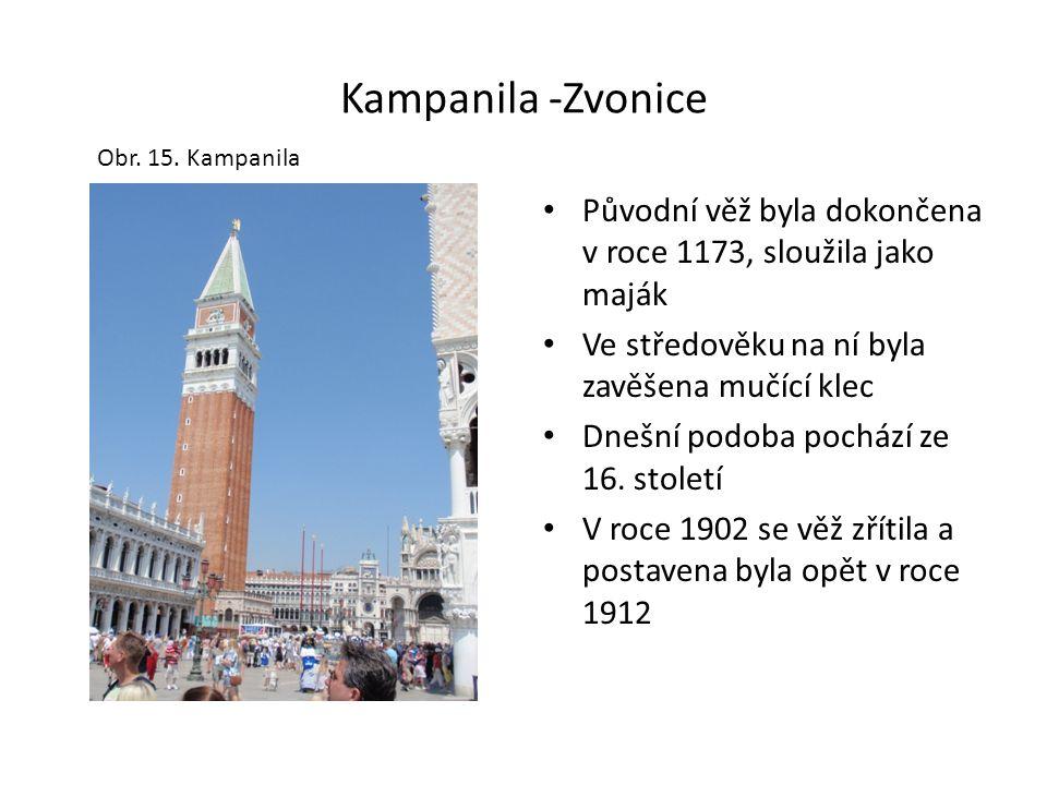 Kampanila -Zvonice Původní věž byla dokončena v roce 1173, sloužila jako maják Ve středověku na ní byla zavěšena mučící klec Dnešní podoba pochází ze