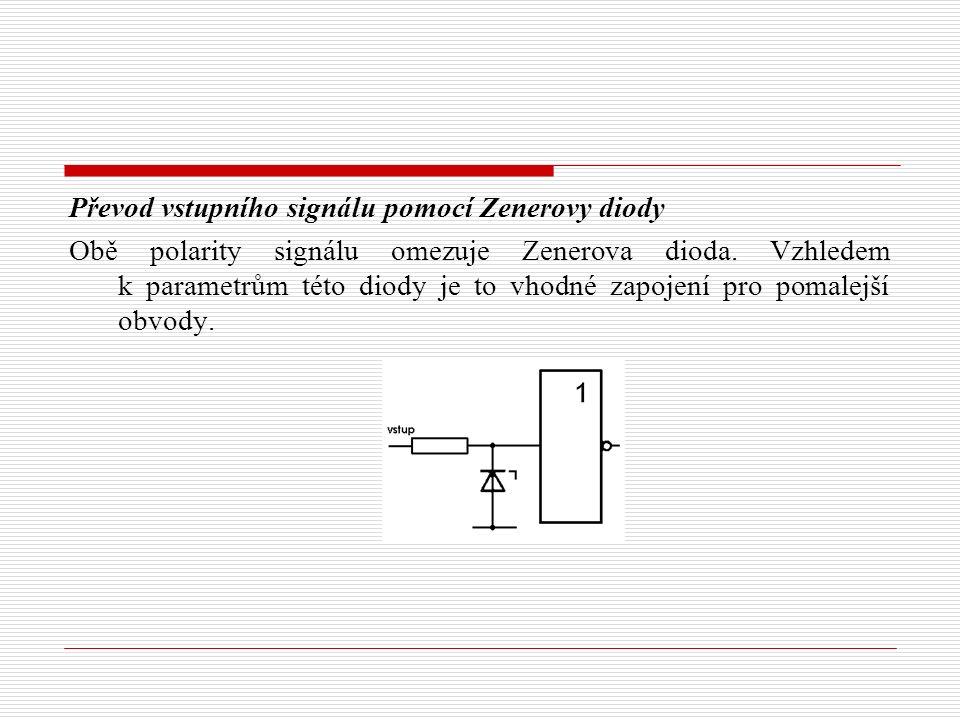 Převod vstupního signálu pomocí Zenerovy diody Obě polarity signálu omezuje Zenerova dioda.