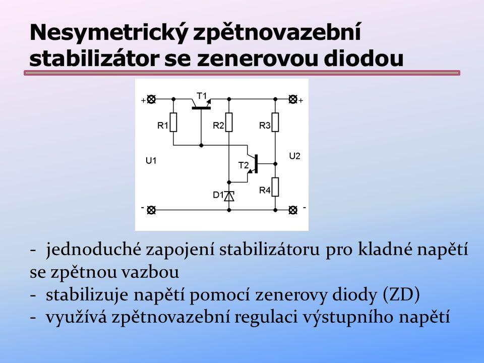 - jednoduché zapojení stabilizátoru pro kladné napětí se zpětnou vazbou - stabilizuje napětí pomocí zenerovy diody (ZD) - využívá zpětnovazební regulaci výstupního napětí